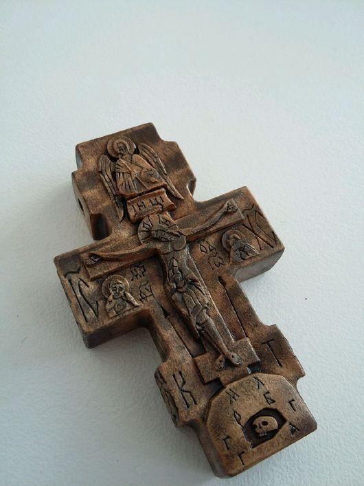 Комплекты аксессуаров ручной работы. Ярмарка Мастеров - ручная работа. Купить Крестик деревянный ручной работы с иконами №02. Handmade.