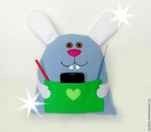 Детская ручной работы. Ярмарка Мастеров - ручная работа. Купить подушка для ребенка заяц с карманом. Handmade. Голубой, подушка заяц