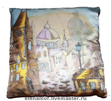 Текстиль, ковры ручной работы. Ярмарка Мастеров - ручная работа. Купить Подушка Прага. Handmade. Комбинированный, интерьерное украшение, лён