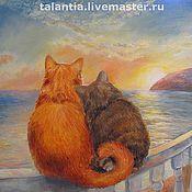 """Картины и панно ручной работы. Ярмарка Мастеров - ручная работа картина """"Влюбленные коты у моря"""". Handmade."""