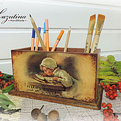 Канцелярские товары ручной работы. Ярмарка Мастеров - ручная работа Подставка под карандаши. Handmade.