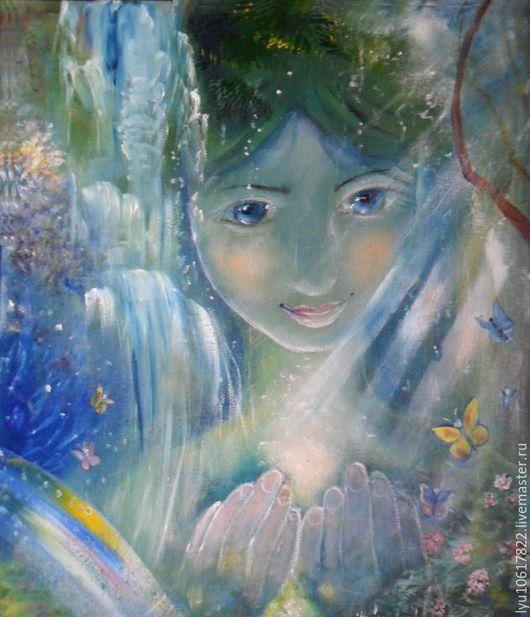 """Фантазийные сюжеты ручной работы. Ярмарка Мастеров - ручная работа. Купить Картина""""Источник""""фэнтези,сказка,красота. Handmade. Голубой, картина сказка"""