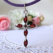 Украшения handmade. Livemaster - original item Silver cross with garnets.. Handmade.