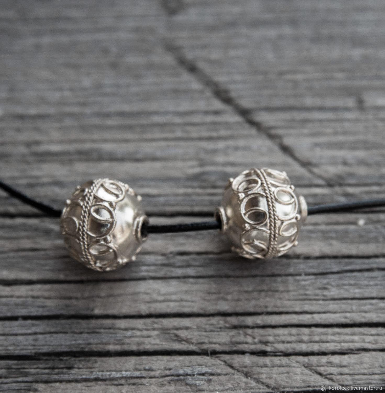 Бусина серебряная Лунница ручной работы, Бусины, Москва,  Фото №1