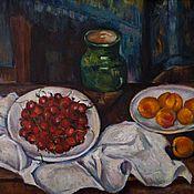 Картины и панно ручной работы. Ярмарка Мастеров - ручная работа Натюрморт с вишнями и персиками (копия Сезанна). Handmade.