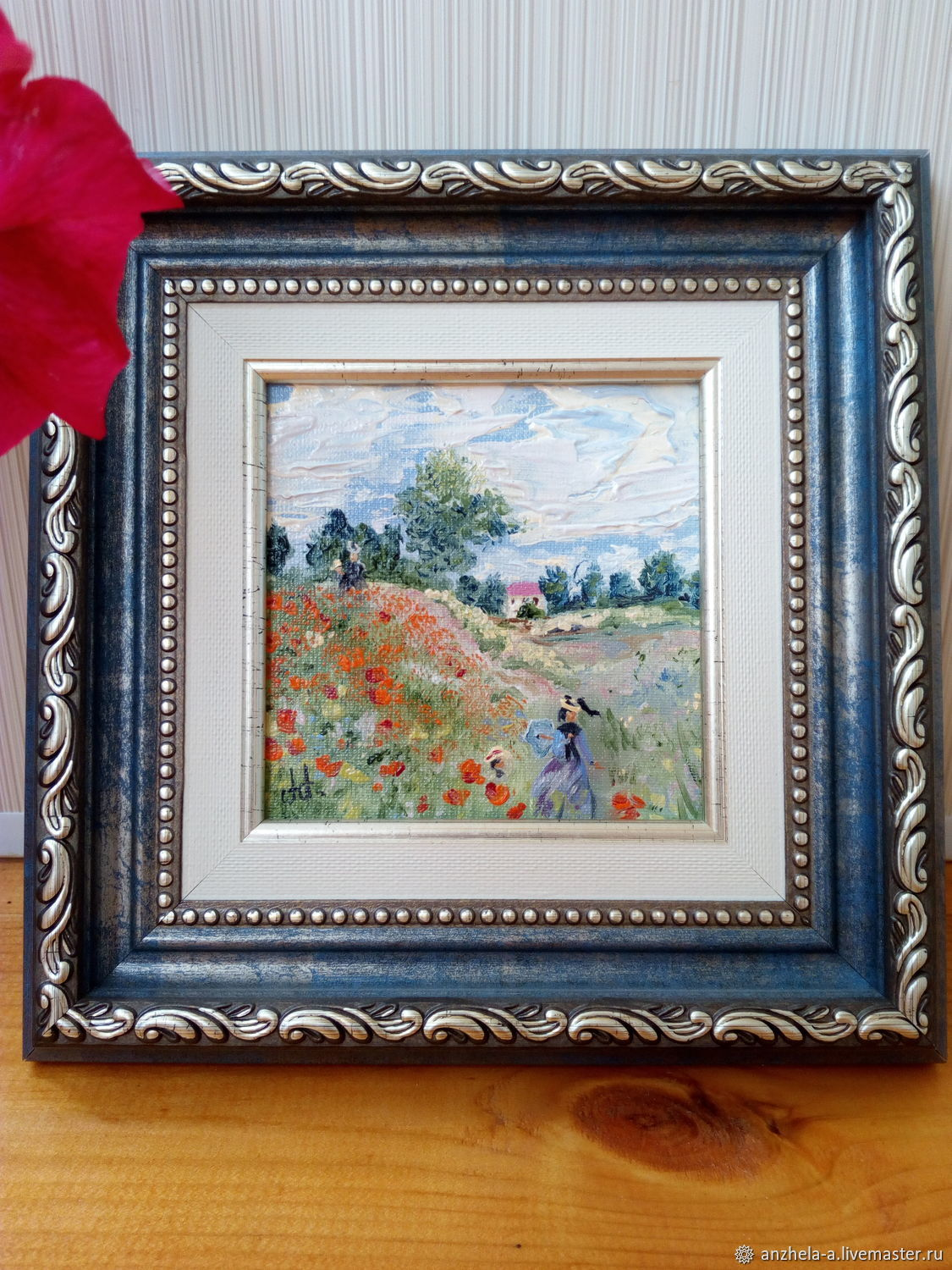 Painting Poppies oil on canvas miniature, Pictures, Moscow,  Фото №1