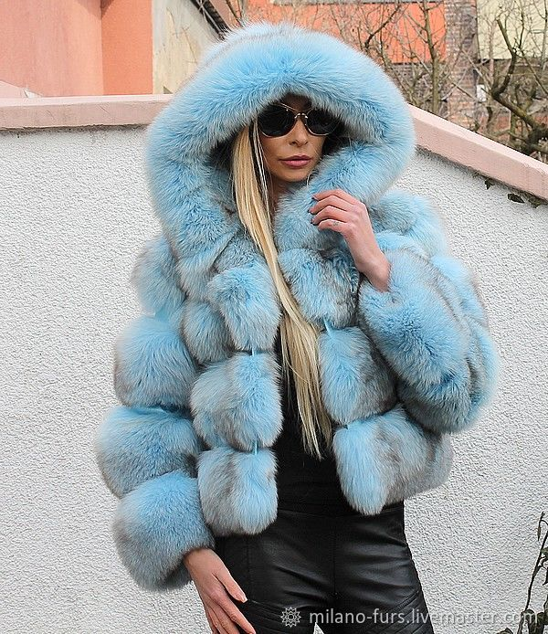 809a68e6716 Ladies Fur Jacket of colored blue fox - baby blue – shop online on ...
