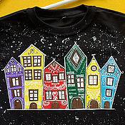 Одежда ручной работы. Ярмарка Мастеров - ручная работа Свитшот с росписью Colorful Houses. Handmade.