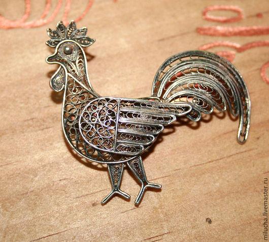 """Винтажные украшения. Ярмарка Мастеров - ручная работа. Купить Брошь """"Rooster"""" серебро, филигрань. Handmade. Серебряный, брошь редкая, редкость"""