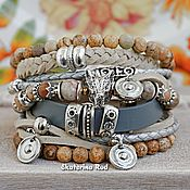 handmade. Livemaster - original item Beige bracelet with jasper in BOHO style