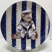 """Посуда ручной работы. Ярмарка Мастеров - ручная работа """"Морячок"""" декоративная тарелочка на подставке. Handmade."""