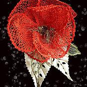 """Украшения ручной работы. Ярмарка Мастеров - ручная работа брошь """"Аленький цветочек"""" коклюшки. Handmade."""
