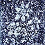 """Картины ручной работы. Ярмарка Мастеров - ручная работа Картина """" Полянка цветов """" Графика. Handmade."""