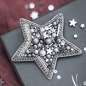 Украшения handmade. Livemaster - original item Silver star brooch with Swarovski crystals. Handmade.