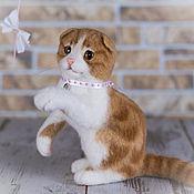 Куклы и игрушки ручной работы. Ярмарка Мастеров - ручная работа Шотландский вислоухий котик. Валяная игрушка. Handmade.