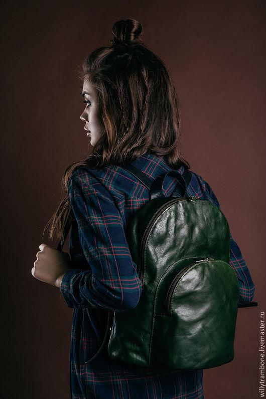 Рюкзаки ручной работы. Ярмарка Мастеров - ручная работа. Купить Double zip backpack. Handmade. Зеленый, кожа