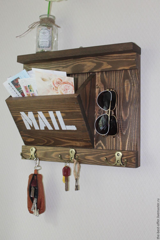 Ключница органайзер для прихожей в стиле лофт, винтаж, Ключницы настенные, Ульяновск,  Фото №1