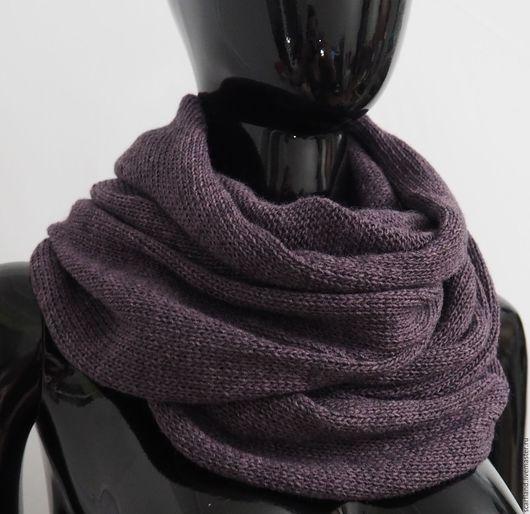 Шарфы и шарфики ручной работы. Ярмарка Мастеров - ручная работа. Купить Снуд вязаный в два оборота ежевичный меланж. Handmade.