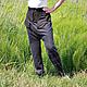 Брюки, шорты ручной работы. Штаны с высокой талией Комби из костюмной ткани с карманами Серый с ко. Каторина Рукодельница HandMadeButik. Интернет-магазин Ярмарка Мастеров.
