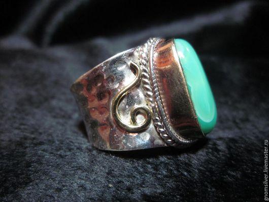 Кольца ручной работы. Ярмарка Мастеров - ручная работа. Купить Уникальное авторское кольцо с ониксом из Мексики. Handmade. Зеленый