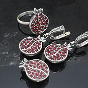 Украшения handmade. Livemaster - original item Garnet jewelry set with zircons made of 925 GA0049 silver. Handmade.