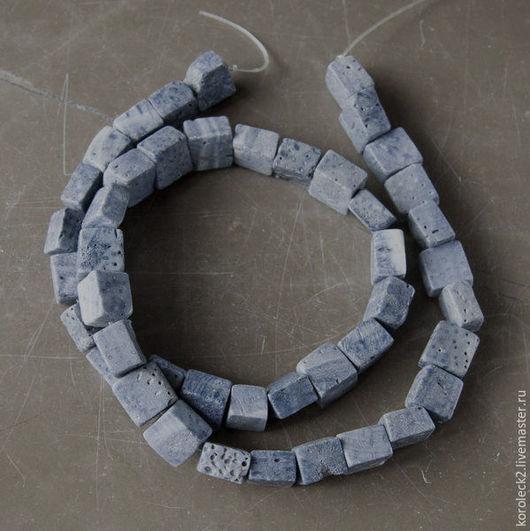 Для украшений ручной работы. Ярмарка Мастеров - ручная работа. Купить Прямоугольные бусины из синего коралла, 10 мм. Handmade.