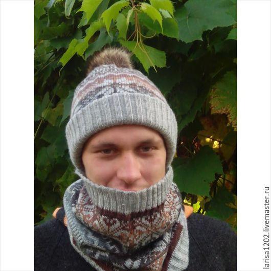 Для мужчин, ручной работы. Ярмарка Мастеров - ручная работа. Купить Комплект двойная шапка и снуд. Handmade. Серый