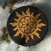 Музыкальные инструменты handmade. Livemaster - original item Sun and stone. Black with gold Vedic tambourine. Handmade.