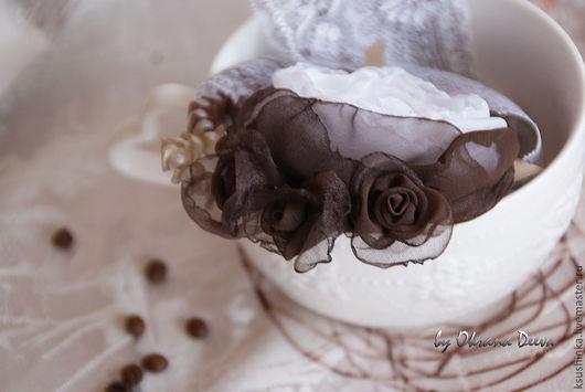 """Броши ручной работы. Ярмарка Мастеров - ручная работа. Купить Брошь-цветок """"Зефир в шоколаде"""". Handmade. Шоколад, брошь-цветок"""