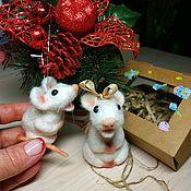 Год Крысы 2020 ручной работы. Ярмарка Мастеров - ручная работа Крыса белая ёлочная игрушка сувенир. Handmade.