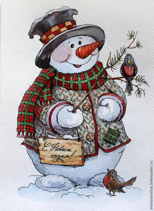 Новый год 2017 ручной работы. Ярмарка Мастеров - ручная работа. Купить Новогодний снеговик. Handmade. Ярко-красный, подарок на новый год