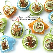 Подарки к праздникам handmade. Livemaster - original item Spring Easter textile pendants 3 PCs.. Handmade.