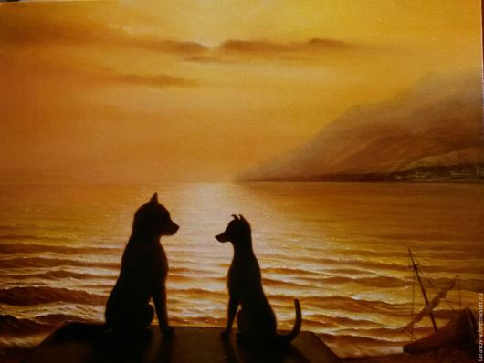 Животные ручной работы. Ярмарка Мастеров - ручная работа. Купить Авторская картина Утомленное солнце.. Handmade. Оранжевый, собаки, лодка