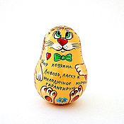 Русский стиль handmade. Livemaster - original item Roly Poly Red Cat nevalyashka music russian doll. Handmade.