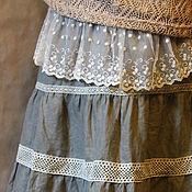 Одежда ручной работы. Ярмарка Мастеров - ручная работа Летняя юбка из льна с бежевым кружевом. Handmade.