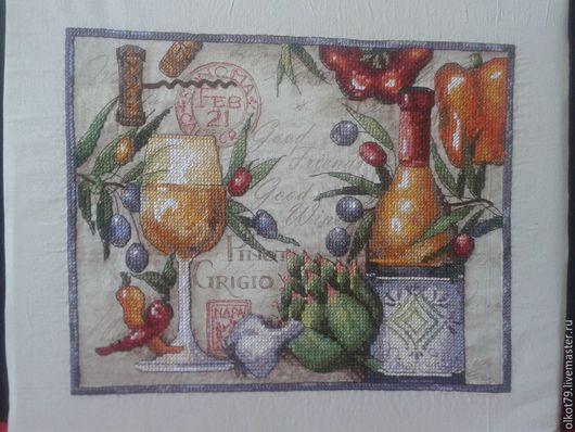 Натюрморт ручной работы. Ярмарка Мастеров - ручная работа. Купить Pinot Grigio.. Handmade. Разноцветный, подарок женщине, для кухни, мулине
