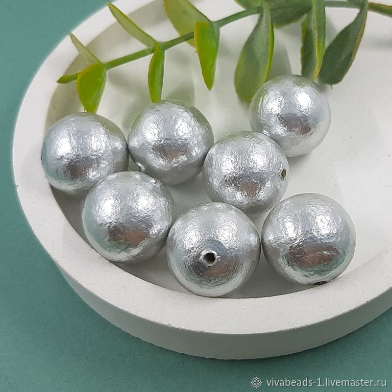 1 PCs. Silver cotton pearl 16 mm (4357), Beads1, Voronezh,  Фото №1