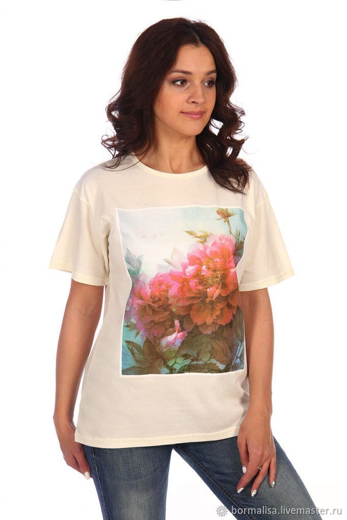 T-Shirts & A-Shirts handmade. Livemaster - handmade. Buy Loose t-shirt with different prints.solid