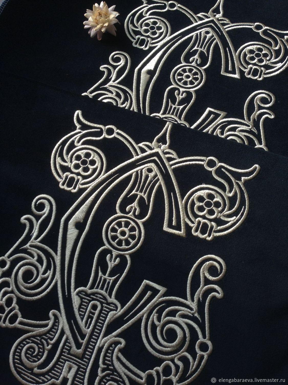 Декоративная подушка бархат - Личная монограмма, Текстиль ковры, Москва, Фото №1