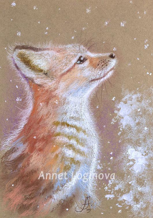 Животные ручной работы. Ярмарка Мастеров - ручная работа. Купить Снежный лис. Handmade. Теплый, бежевый, картины Логиновой Аннет