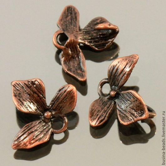 Металлическая подвеска коннектор цветок орхидеи из латуни с покрытием медь для использования в сборке украшений