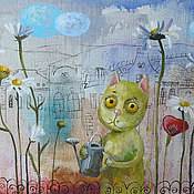 Картины и панно ручной работы. Ярмарка Мастеров - ручная работа Кот садовод. Handmade.