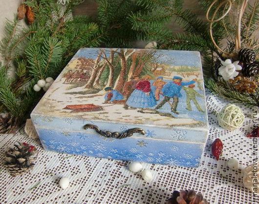 Новогодняя шкатулка, шкатулка на Новый год, шкатулка декупаж, подарок друзьям, декупаж Ирины Налетовой
