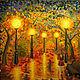Пейзаж ручной работы. Ярмарка Мастеров - ручная работа. Купить Вечерняя аллея. Handmade. Картина, Живопись, картина для интерьера