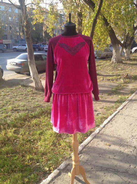 """Костюмы ручной работы. Ярмарка Мастеров - ручная работа. Купить Свитшот и юбка """"Розовый бархат"""". Handmade. Свитшот, кружево, юбочка"""