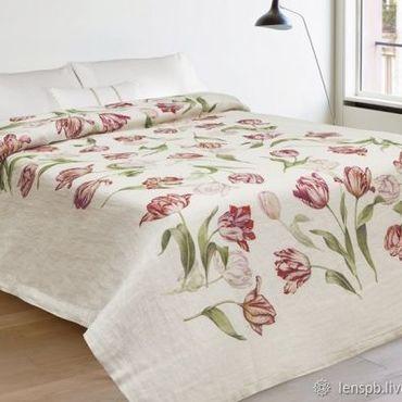Текстиль ручной работы. Ярмарка Мастеров - ручная работа Покрывало льняное 220х165 Поле тюльпанов. Handmade.