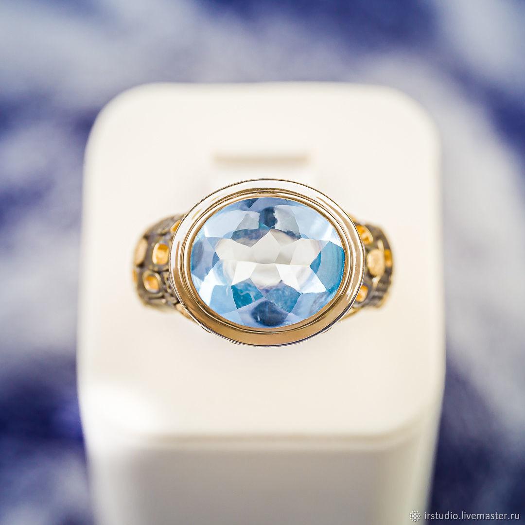 Позолоченное кольцо с голубым топазом скай (RCOV12x10), Кольца, Москва,  Фото №1