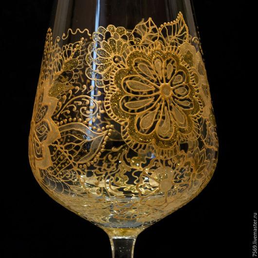 """Бокалы, стаканы ручной работы. Ярмарка Мастеров - ручная работа. Купить Бокал для вина  """"Золотые кружева"""". Handmade. Золотой"""