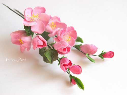 Свадебные украшения ручной работы. Ярмарка Мастеров - ручная работа. Купить Две веточки розовой яблони для свадебной прически. Handmade.
