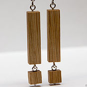 Украшения handmade. Livemaster - original item Earrings made of wood oak. Handmade.